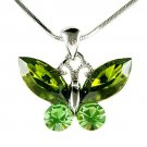 Christmas Green Butterfly Swarovski Crystal Pendant Necklace