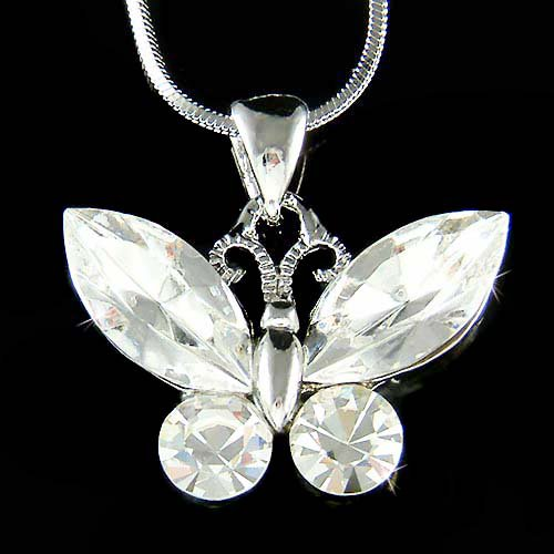 Cute Bridal Swarovski Crystal Clear Butterfly Pendant Necklace