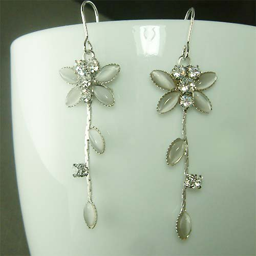 Clear White Swarovski Crystal Bridal Wedding Dragonfly Earrings