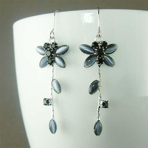 Sexy Black Swarovski Crystal Bridal Wedding Dragonfly Earrings