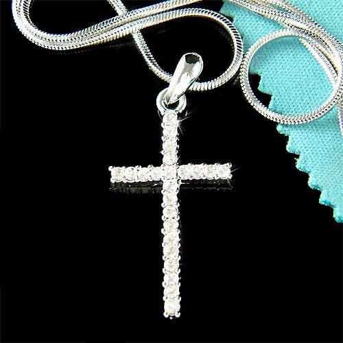 Simple Jesus Christ Religious Swarovski Crystal Cross Necklace