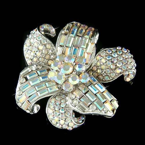 Bridal Wedding Lily Flower Bouquet Swarovski Crystal Pin Brooch