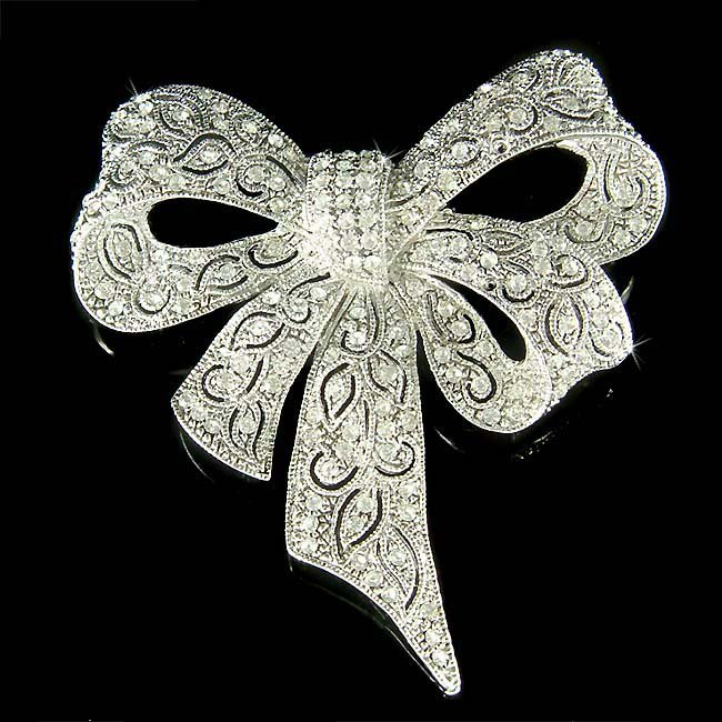 Holiday Swarovski Crystal Filigree Love Knot Ribbon Bow Brooch