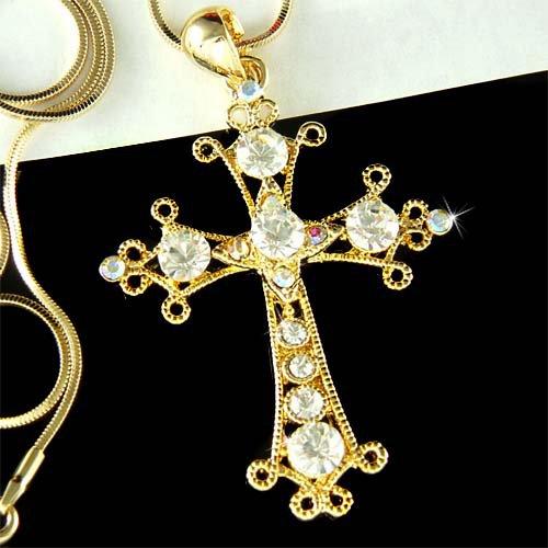 Gold Swarovski Crystal Cross Jesus Christ God Religious Necklace