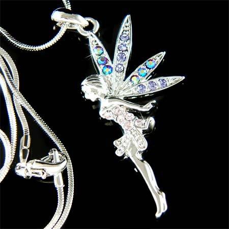 Purple Swarovski Crystal Tinker Bell Tinkerbell Pendant Necklace