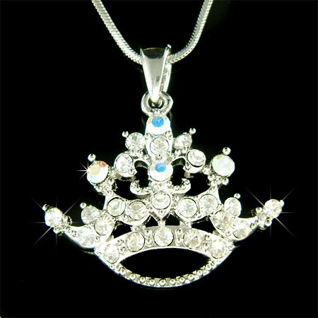 Clear Swarovski Crystal Queen Princess Crown Pendant Necklace