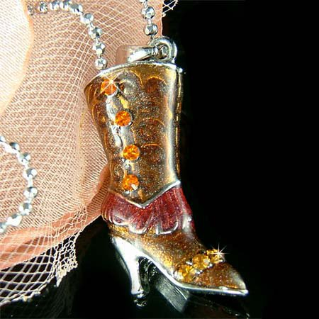 3D High Heel Boot Western Cowboy Cowgirl Rodeo Crystal Necklace