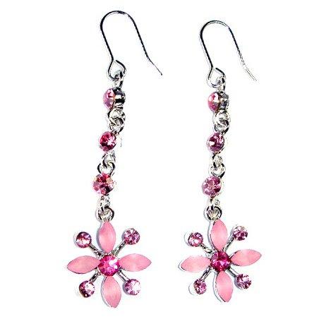 Swarovski Crystal Bridal Wedding Pink Snowflake Flower Earrings
