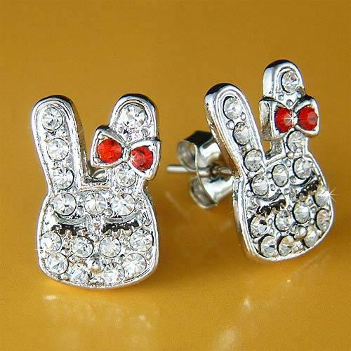 Cute Easter Girl Bunny Rabbit Swarovski Crystal Stud Earrings