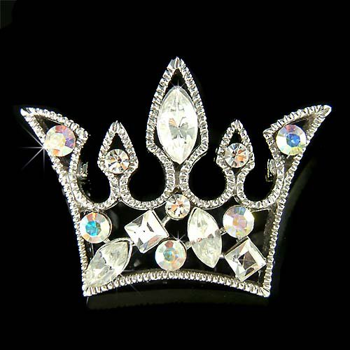 Clear Princess Queen Royal Crown Swarovski Crystal Brooch