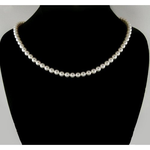 Timeless Classic White Swarovski Pearl Sterling Silver Necklace