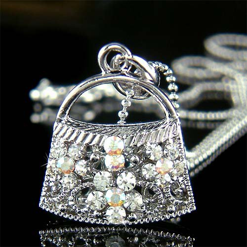 Bling Night Out Handbag Purse Swarovski Crystal Pendant Necklace