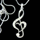 Swarovski Crystal Heart Treble Clef Music Note Pendant Necklace