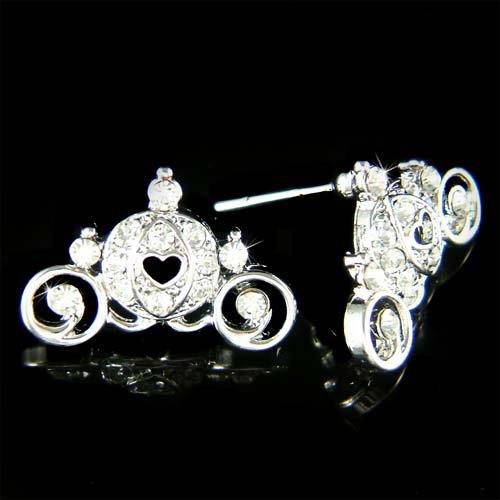Cinderella Pumpkin Carriage Coach Swarovski Crystal Earrings