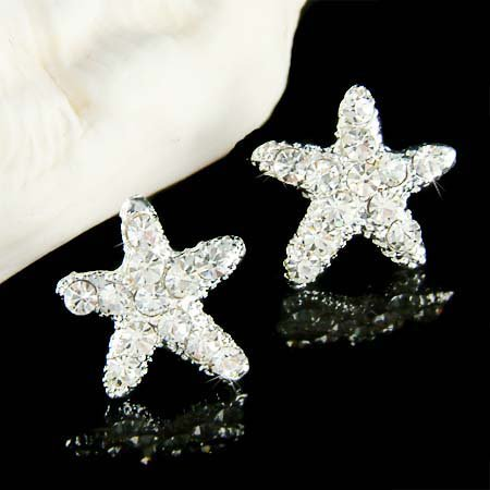 Beach Wedding Bridal Ocean Starfish Swarovski Crystal Earrings