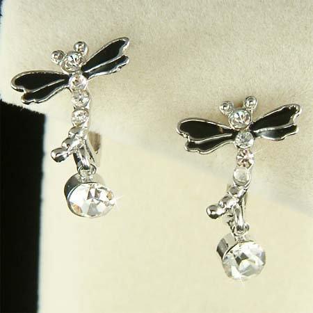 Black Enamel Swarovski Crystal Wedding Dragonfly Huggie Earrings