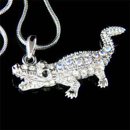 Swarovski Crystal Crocodile Aligator Wild Jungle Gator Necklace