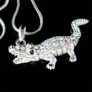 Swarovski Crystal Crocodile Aligator Wild Jungle Gator Necklace
