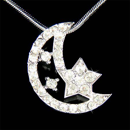 Clear Swarovski Crystal Crescent Moon Star Pendant Necklace
