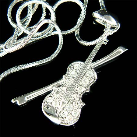 Violin with Bow Fiddle Music Swarovski Crystal Pendant Necklace