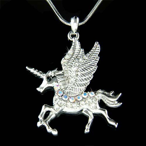 Swarovski Crystal Unicorn Pegasus Horse Wings Pendant Necklace