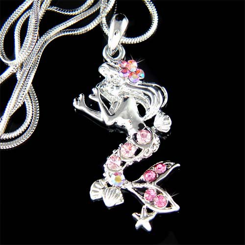 Swarovski Crystal Sea Nymph Mermaid Starfish Seashell Necklace