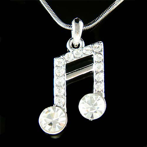 Semiquaver Swarovski Crystal Sixteenth Music note Charm Necklace