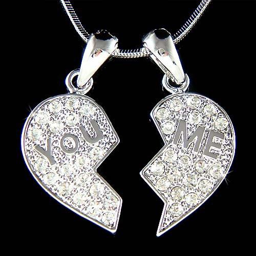 Swarovski Crystal You & Me Best Friends Heart Lover Necklace