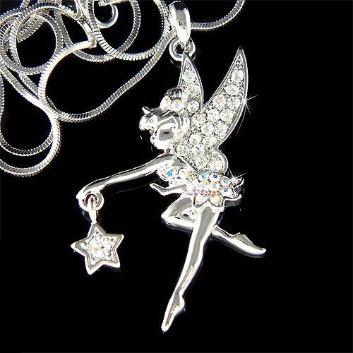 Swarovski Crystal Pixie Star Tinkerbell Fairy Pendant Necklace