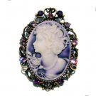 2 in 1 Big Antique Purple Cameo Swarovski Crystal Pendant Brooch