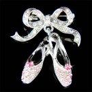 Swarovski Crystal Ballerina Ballet Dance Shoes Slippers Brooch