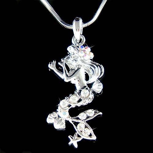 Swarovski Crystal Mermaid Sea Nymph Starfish Seashell Necklace