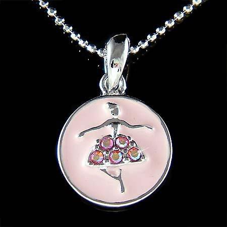 Pink Swarovski Crystal Ballerina Ballet Dancer Pendant Necklace