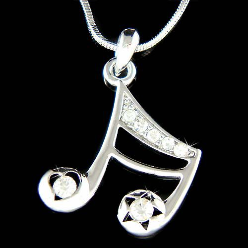 Swarovski Crystal 16th Music Note Heart Star Pendant Necklace