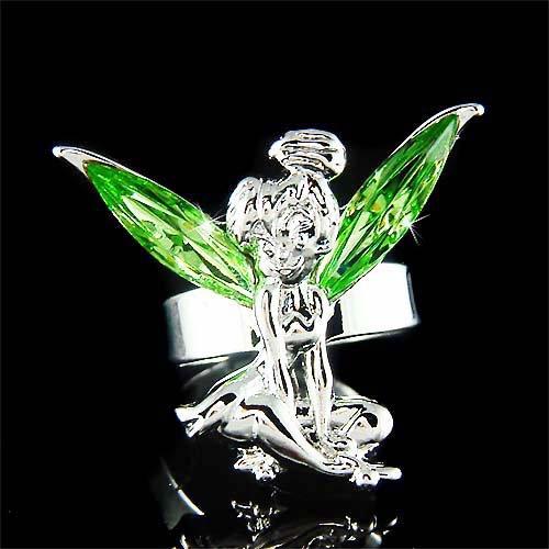 Green Swarovski Crystal Fairy Magic Tinkerbell Tinker Bell Ring