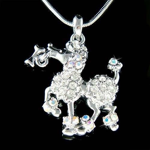White French Poodle Dog Bone Swarovski Crystal Pendant Necklace