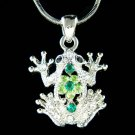 Swarovski Crystal Wildlife Green Leap Frog Toad Pendant Necklace