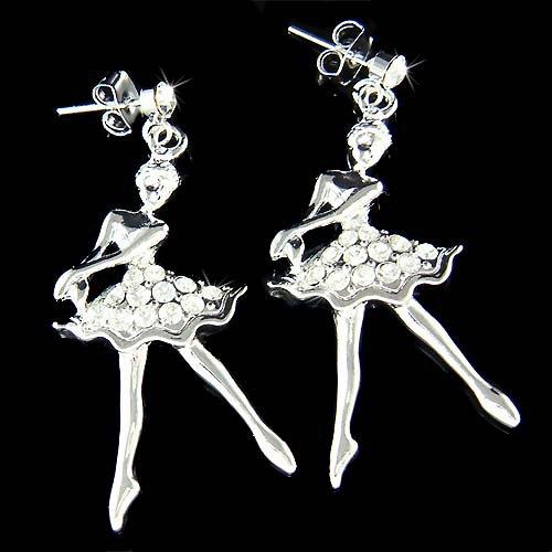 Ballerina Ballet Dancer Dance Swarovski Crystal Stud Earrings