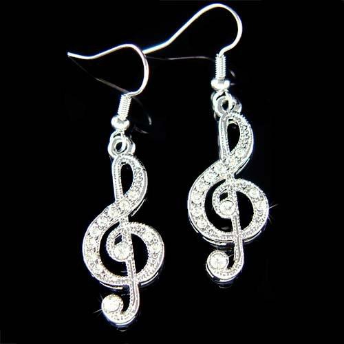 Cute Swarovski Crystal Treble G Clef Music Note Pendant Earrings