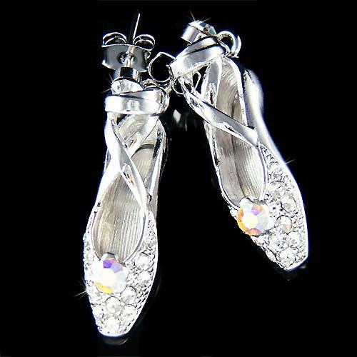 Ballerina Ballet Dance Slippers Shoes Swarovski Crystal Earrings