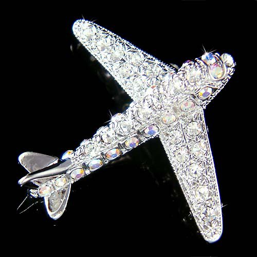 Pilot Aviator Swarovski Crystal Airplane Vacation Travel Brooch