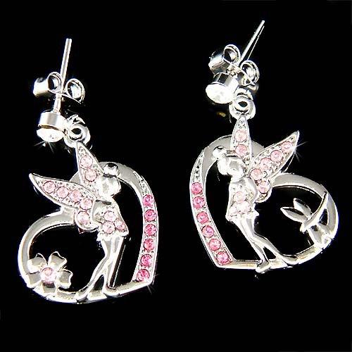 Pink Swarovski Crystal Tinkerbell in Love Heart Fairy Earrings