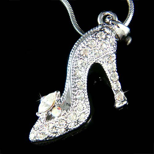 Crystal Cinderella Glass Slippers Hight Heel Shoe Charm Necklace