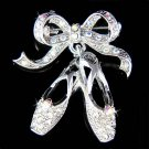 Swarovski Crystal Ballerina Slippers Ballet Dance Shoes Brooch