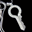 Swarovski Crystal Clear Pave Lock Key to my Heart Charm Necklace
