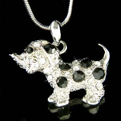 Swarovski Crystal Black & White Dalmatian Dog Puppy Pet Necklace