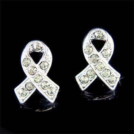 Swarovski Crystal Brain Cancer & Tumor Awareness Ribbon Earrings