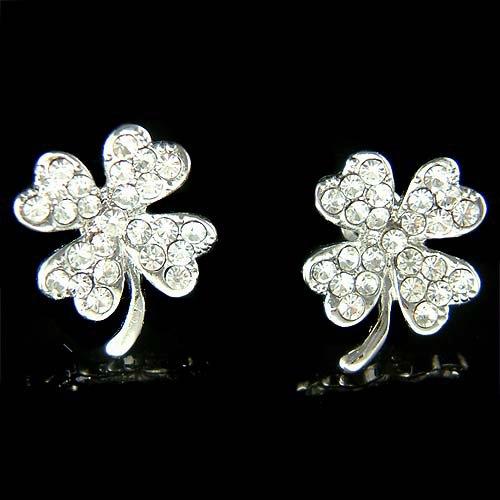 Swarovski Crystal Lucky 4 Leaf Clover Shamrock Pierced Earrings