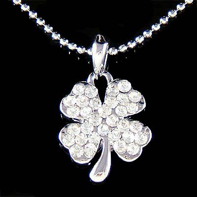 Swarovski Crystal St Patrick's Day 4-Leaf  Clover Lucky Necklace