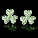 Swarovski Crystal Irish Ireland Shamrock 3 Leaf Clover Earrings